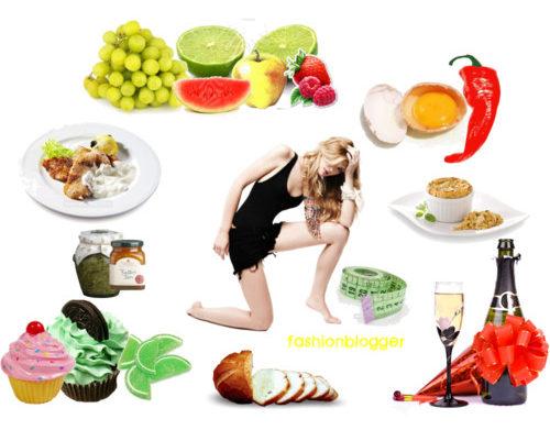Девушка в окружении еды